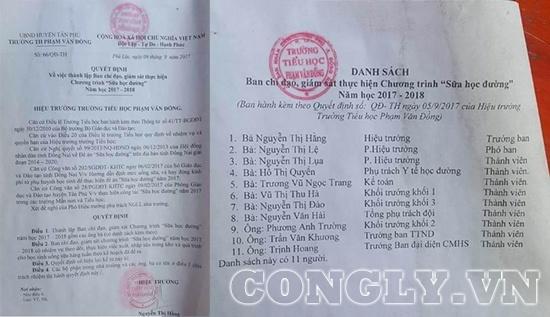 """Quyết định thành lập và danh sách Ban chỉ đạo, giám sát thực hiện chương trình """"Sữa học đường"""" năm học 2017 – 2018 của trường TH Phạm Văn Đồng."""