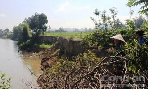 Bờ sông bị sạt lở vì hoạt động khai thác cát trong thời gian dài