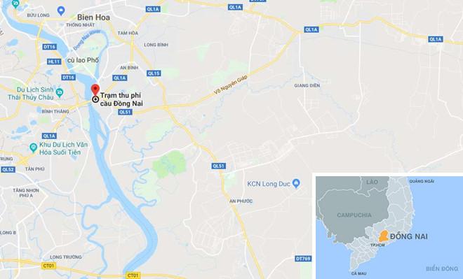 Vị trí Trạm thu phí cầu Đồng Nai. Ảnh: Google Maps.