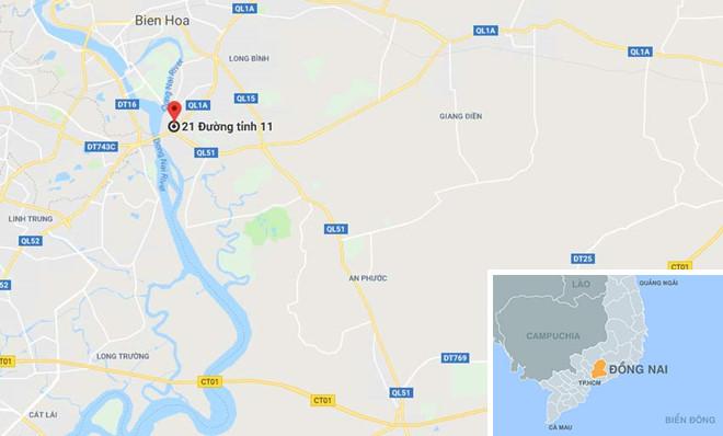 Chấm đỏ - vị trí vụ tai nạn. Ảnh: Google Maps.