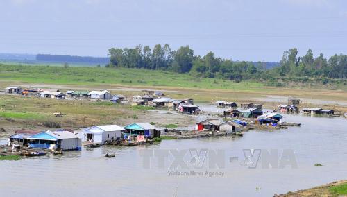 Làng bè trên dòng sông La Ngà, thuộc xã Phú Ngọc, huyện Định Quán, tỉnh Đồng Nai. Ảnh: Công Phong/TTXVN