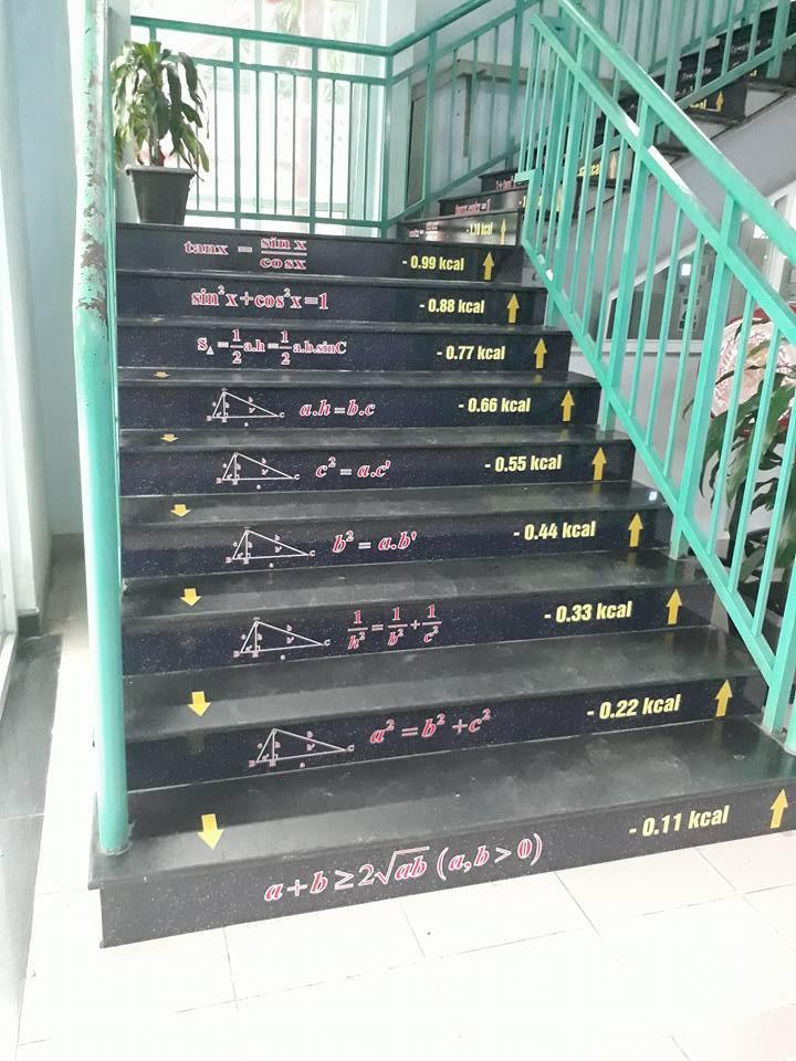 Những công thức Toán được dán lên khắp các bậc cầu thang