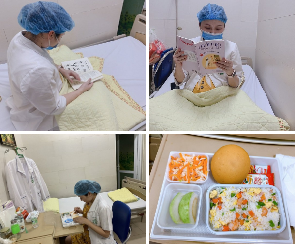 Suất ăn hàng ngày của bác sĩ Hương, khi được nghỉ ngơi nữ bác sĩ này lại đọc sách hướng dẫn cách chăm con ngay tại khu cách ly.