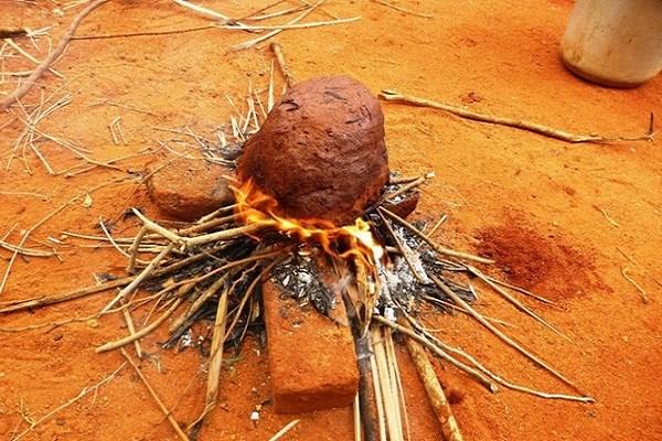 Nướng gà là công đoạn cầu kì hơn cả, cần phải chuẩn bị thật nhiều củi khô, nướng liên tục trên lửa từ 1 đến 2 tiếng để đất nóng kĩ, đủ ngấm và làm chín thịt gà. (Ảnh: internet)