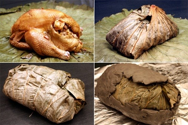 Gà nướng đất sét còn có một hình thức chế biến khác là bọc với lá sen trước khi đắp đất. Cái khác là phải làm sạch lông trước khi được bọc trong lớp lá sen. Cách chế biến này giúp thịt gà đã mềm lại thơm dịu hương sen, khiến món ăn càng thêm hấp dẫn hơn. ( Ảnh: depplus.vn/ Mask)