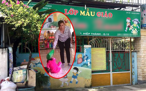 Chủ cơ sở Mầm non tư thục Mầm Xanh Phạm Thị Mỹ Linh cùng 2 bảo mẫu liên quan đã được CQĐT triệu tập để làm rõ hành vi hành hạ trẻ em gây bức xúc dư luận. Ảnh cắt từ clip.