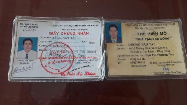 Thẻ đăng ký hiến xác và hiến mô của ông Tài
