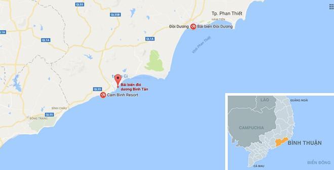 Bãi biển Đồi Dương nơi anh Thành bị sóng cuốn mất tích. Ảnh: Google Maps.