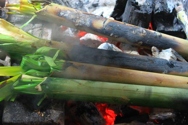 Thịt bò được nhồi vào trong những ống nứa và nướng chín trên bếp than hồng. Ảnh: H.P.