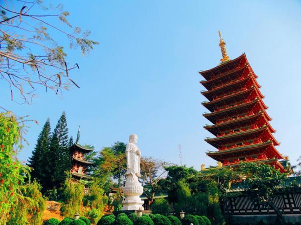 Khung cảnh thiên nhiên trong chùa hài hòa đến từng centimet. (Nguồn: Instagram)