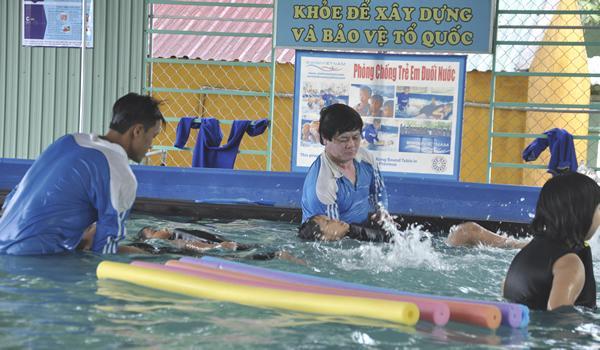 Mô hình bể bơi di động đang được các địa phương trên địa bàn Gia Lai đầu tư cho các trường học.