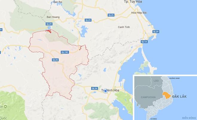 Huyện Mđrắk nơi nhiều hộ dân bị nước cô lập. Ảnh: Google Maps.
