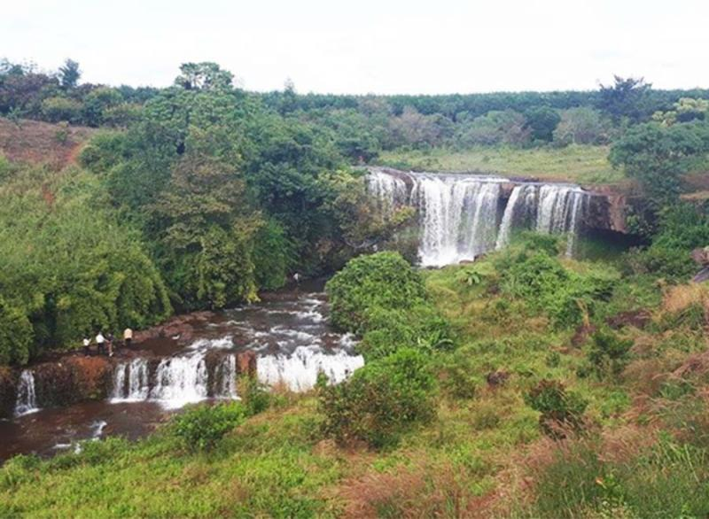 Thác nước hung vĩ nhìn từ xa như một bậc thang vắt vẻo qua những cánh rừng bạt ngàn cao su, bạt ngàn cà phê xanh biếc.