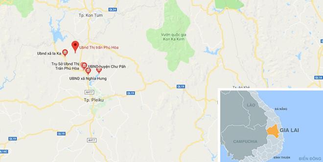 Sự việc xảy ra tại thị trấn Phú Hòa, huyện Chư Păh, Gia Lai. Ảnh: Google Maps.