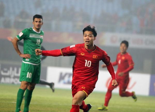 Công Phượng ghi bàn thắng mở tỷ số trong trận tứ kết với U23 Iraq. Ảnh: AFC.