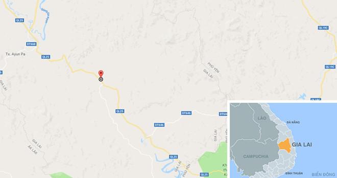 Xã Ia Rsươm, huyện Krông Pa (chấm đỏ), nơi xảy ra sự việc. Ảnh:Google Maps.