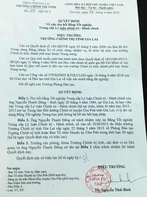 Quyết định thu hồi bằng Trung cấp lý luận Chính trị đối với ông Nguyễn Thanh Đông