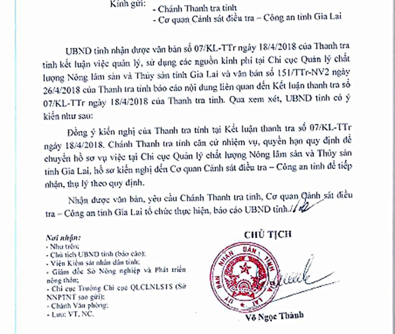 Văn bản của chủ tịch UBND tỉnh Gia Lai.