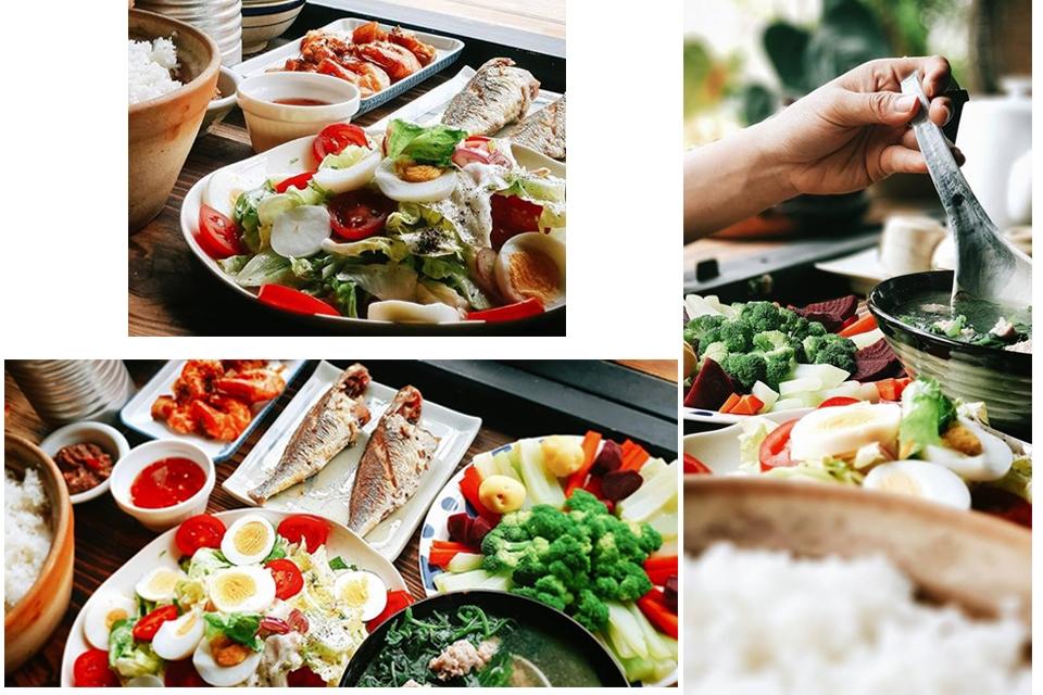 Bữa cơm đơn giản với những món ăn quen thuộc, rau củ được hái từ chính khu vườn của Still. (Ảnh: Still café)