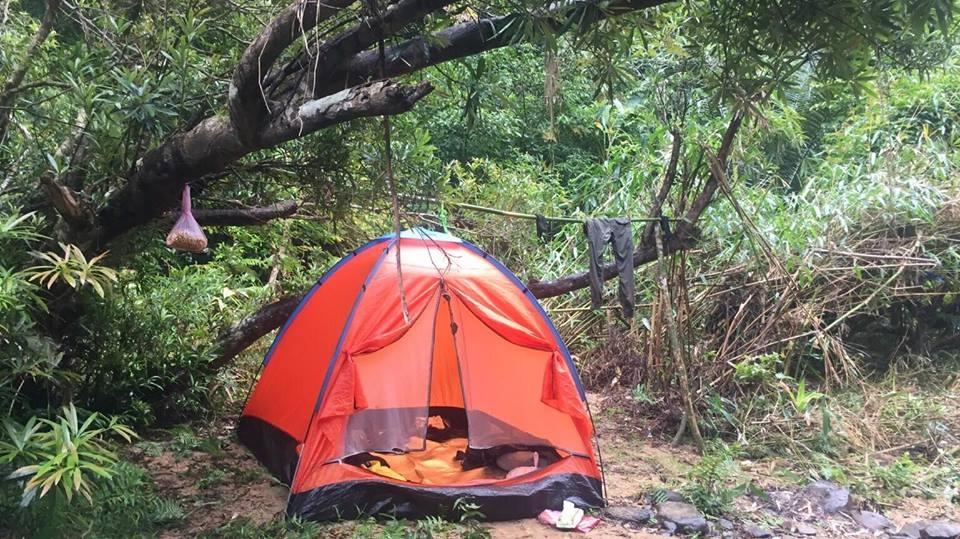 Dừng lều, cắm trại giữa khung cảnh hoang sơ của núi rừng.