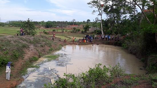 Khu vực hồ tưới nơi hai học sinh đuối nước