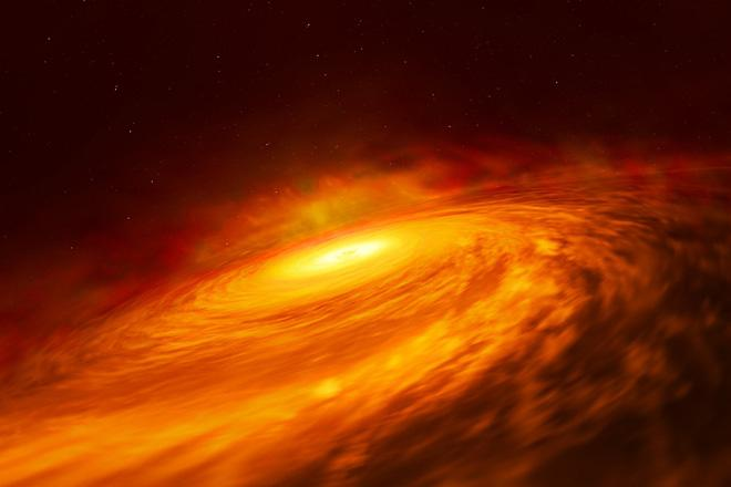 Hình ảnh xây dựng về đĩa bồi tụ sáng bất thường quanh hố đen thuộc thiên hà xoắn ốc NGC 3147. Nguồn: Sciencealert
