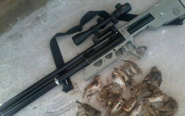 Khẩu súng nén hơi anh Tú dùng để bắn chim khiến cháu T.V.C bị thương nặng. (Nguồn: Cơ quan Công an cung cấp)