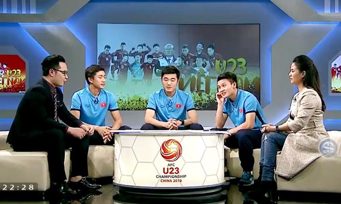 Xuân Trường,Văn Đức và Quang Hải giao lưu trên sóng truyền hình
