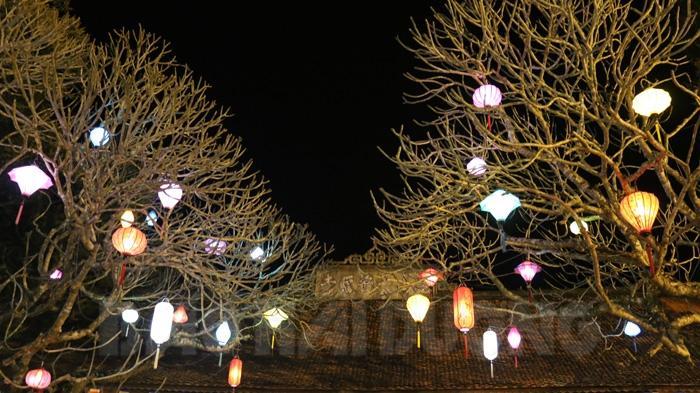 Hàng trăm chiếc đèn lồng phát sáng trên các cây đại thụ ở sân chùa