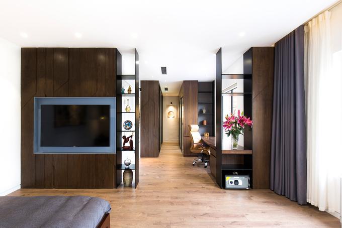 Phòng ngủ lớn là không gian rộng với đầy đủ phòng làm việc, phòng thay đồ, WC lớn.