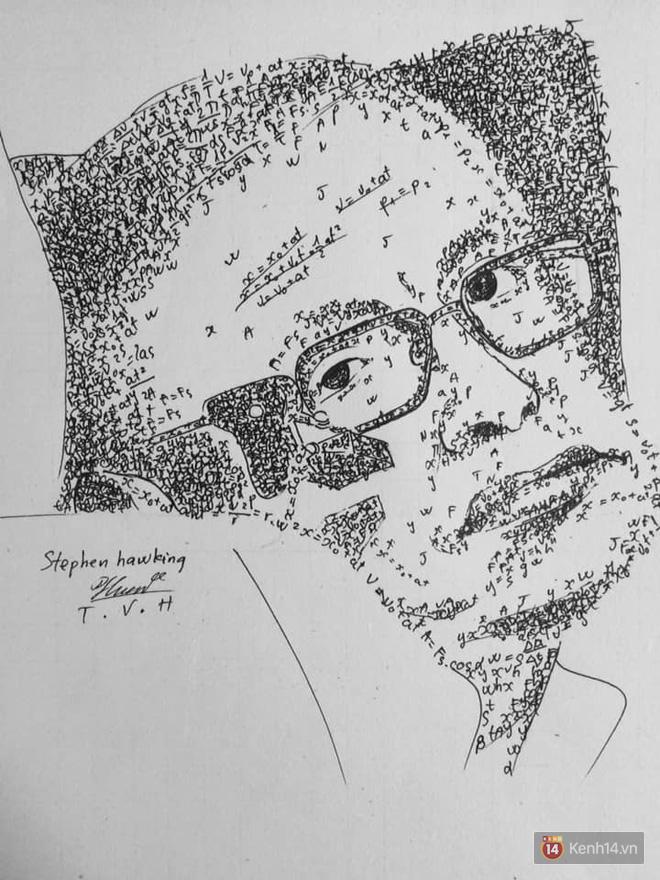 Bức ảnh Stephen Hawking được vẽ bằng các biểu thức vật lý