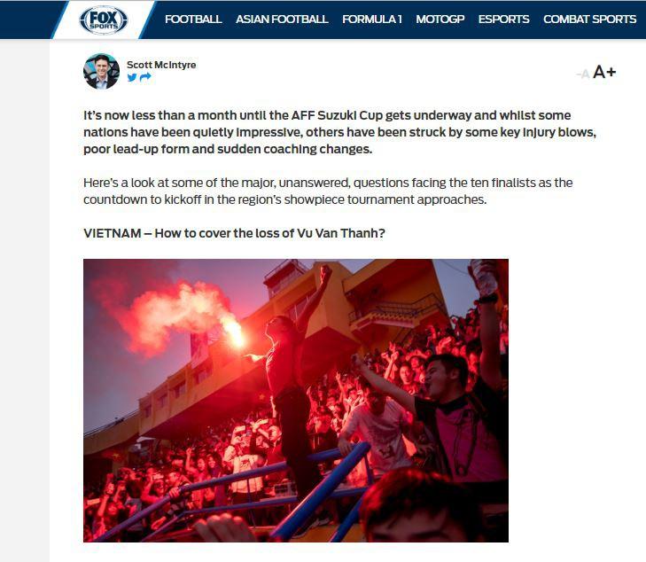 Bài viết trên trang Fox Sports Asia bày tỏ quan ngại về sự vắng mặt của Văn Thanh trong thành phần đội tuyển Việt Nam tại AFF Cup sắp tới.