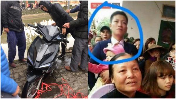Hình ảnh chiếc xe được tìm thấy dưới sông và anh Hùng trước khi mất tích.