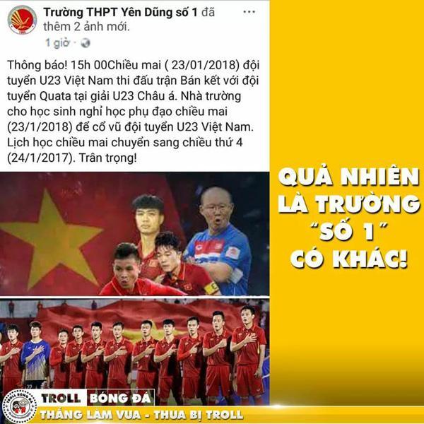 Hình ảnh một trường học ở Bắc Giang cho học sinh nghỉ phụ đạo buổi chiều để cổ vũ bóng đá được dân mạng thi nhau chia sẻ (Ảnh: Troll bóng đá)