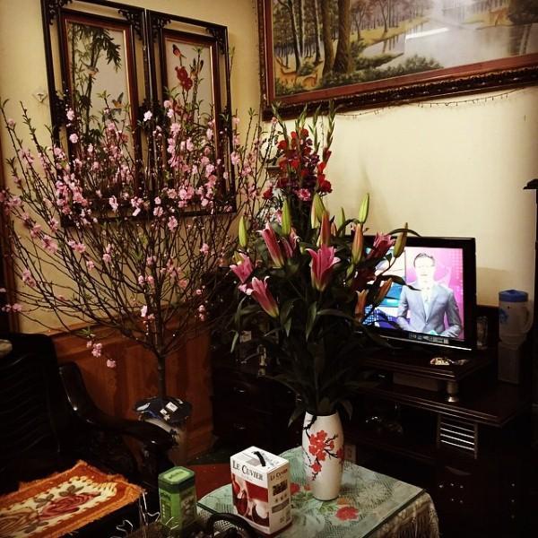 Phòng khách trang trí đầy hoa mỗi dịp Tết đến