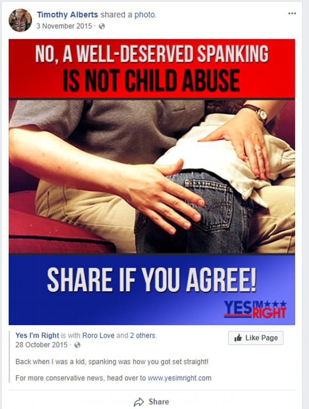 Timothy thường xuyên lên mạng xã hội bày tỏ sự ủng hộ cho việc đánh đòn như một hình thức để trừng phạt trẻ con. (Ảnh: dailymail)