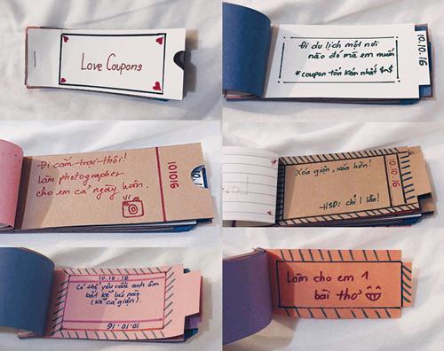 Tập phiếu tình yêu Ngọc được bạn trai tặng.