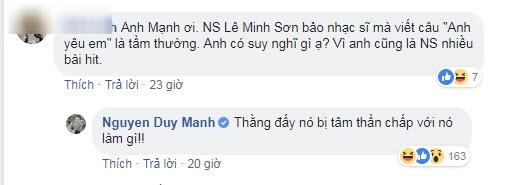 Duy Mạnh mắng Lê Minh Sơn tâm thần.