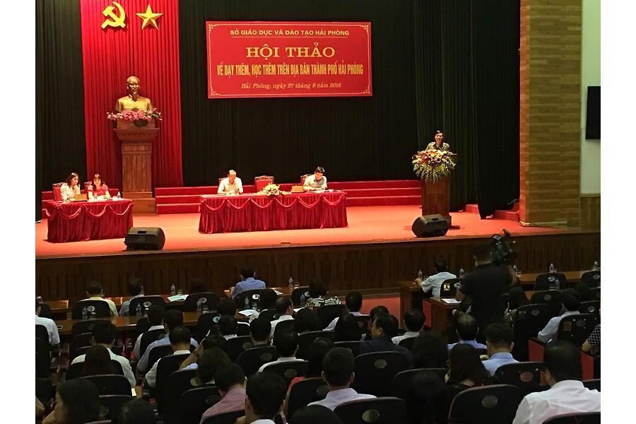 Giám đốc Sở Giáo dục-Đào tạo Nguyễn Xuân Trường phát biểu khai mạc tại hội thảo.