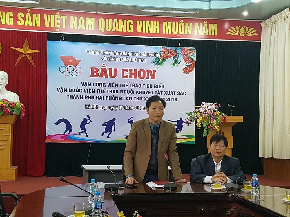 Ông Lê Văn Quý - Giám đốc Sở Văn hóa và Thể thao -  phát biểu tại cuộc bầu chọn. Ảnh: PV.