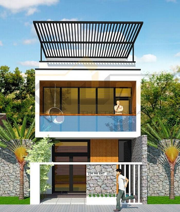 Mẫu thiết kế nhà 2 tầng phá cách cho gia chủ cá tính với phần mái che đua ra ngoài tạo điểm nhấn.