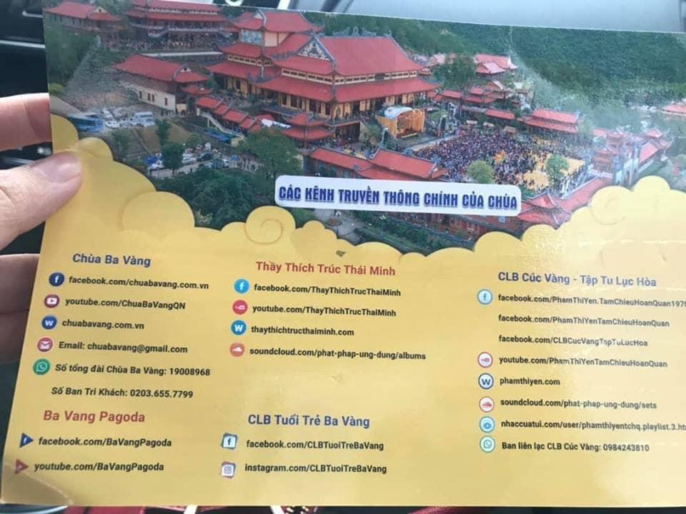 Tờ rơi cho thấy các kênh truyền thông rất chuyên nghiệp tại chùa Ba Vàng và của