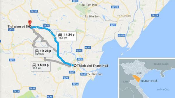 Trại giam số 5, nơi đang bị nước lũ cô lập. Ảnh: Google Maps.