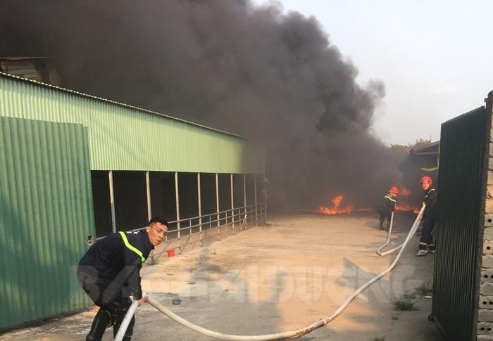 Lực lượng phòng cháy chữa cháy phun nước dập lửa. Ảnh: báo Hải Dương