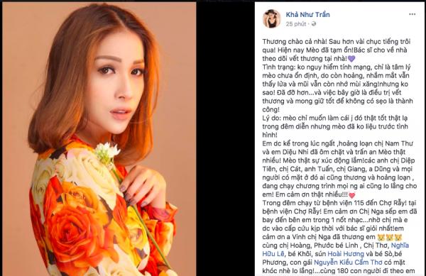Khả Như vừa chia sẻ tình hình sức khoẻ trên trang Facebook cá nhân.