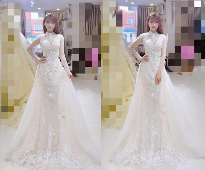 Hình ảnh Khởi My diện thửváy cưới hồi tháng 5/2017.