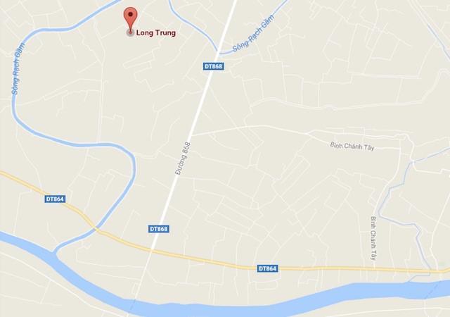 Xã Long Trung (huyện Cai Lậy, Tiền Giang), nơi xảy ra vụ việc. Ảnh: Google Map.