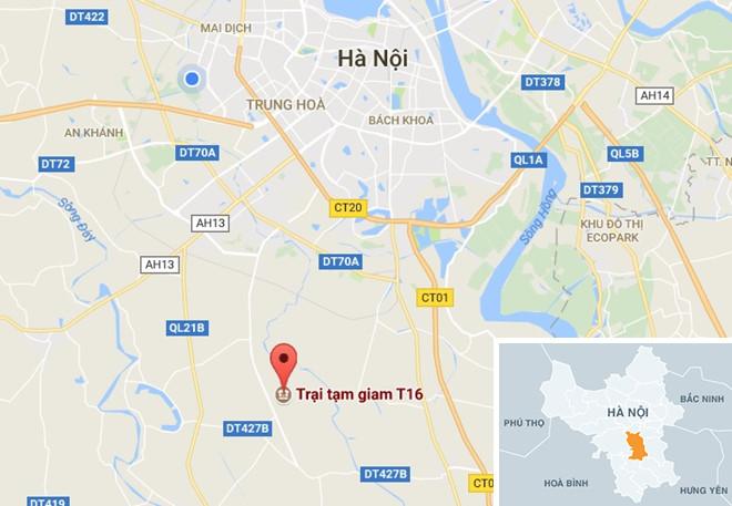 Trại tạm giam T16 nằm trên địa phận huyện Thanh Oai (Hà Nội). Ảnh: Google Maps.
