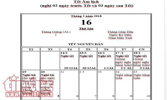 Lịch nghỉ tết Nguyên đán 2018 theo phương án 1 của Tờ trình của Bộ LĐTBXH.