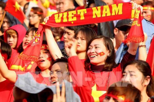 Niềm vui của các cổ động viên Việt Nam. Ảnh: Thành Đạt - TTXVN